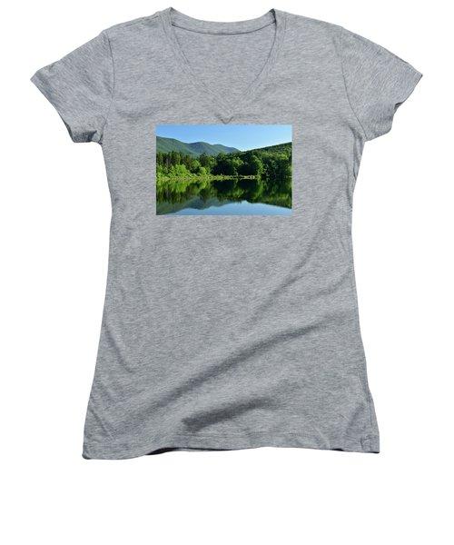 Streak Of Light At The Lake Women's V-Neck T-Shirt