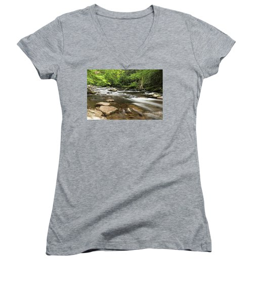 Stream In The Smokies Women's V-Neck (Athletic Fit)