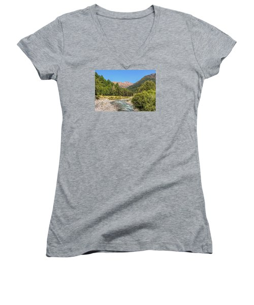 Women's V-Neck T-Shirt (Junior Cut) featuring the photograph Streaming Through The Alps by Brent Durken