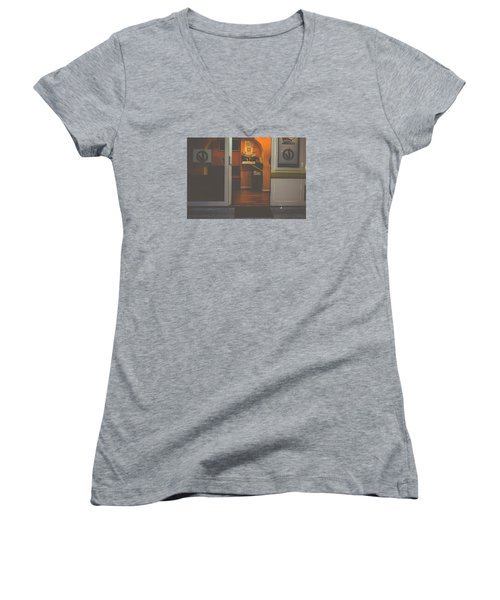 Street Coffee Women's V-Neck T-Shirt (Junior Cut) by Cesare Bargiggia