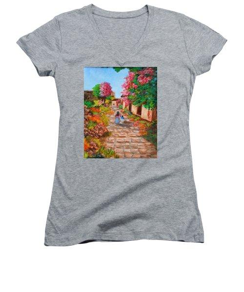 Street In Monemvasia Women's V-Neck T-Shirt