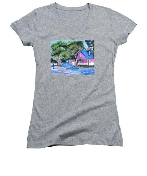 Street In St Augustine Women's V-Neck T-Shirt (Junior Cut) by Luis F Rodriguez