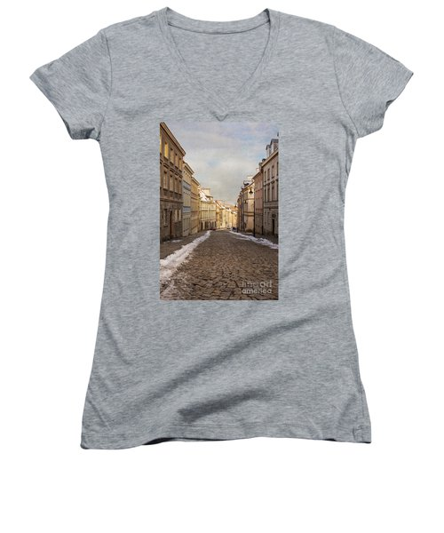 Women's V-Neck T-Shirt (Junior Cut) featuring the photograph Street In Warsaw, Poland by Juli Scalzi