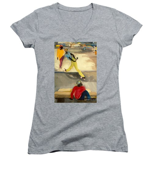 Women's V-Neck T-Shirt (Junior Cut) featuring the painting Street Scene by Daun Soden-Greene