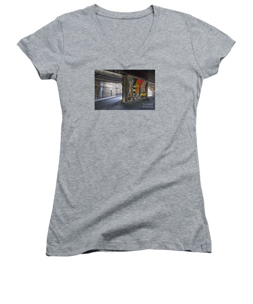 Street Scene - Edinburgh Women's V-Neck T-Shirt (Junior Cut) by Amy Fearn