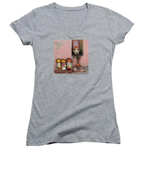 Street Temple, Haridwar Women's V-Neck T-Shirt (Junior Cut) by Jennifer Mazzucco