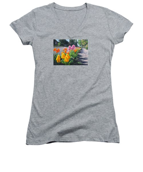 Women's V-Neck T-Shirt (Junior Cut) featuring the painting Street Tulips by Karen Ilari