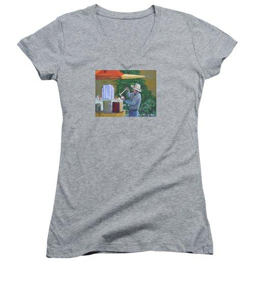 Street Vendor Women's V-Neck T-Shirt (Junior Cut)