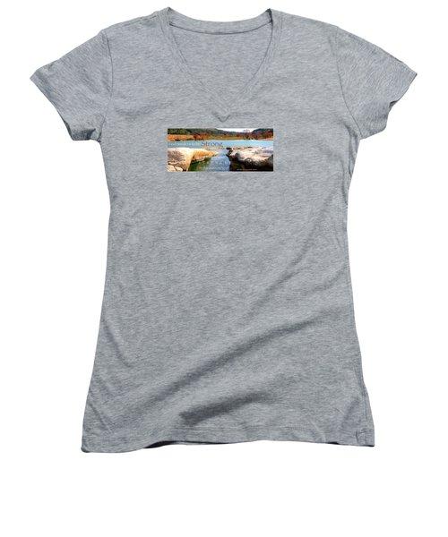 Strength Multiplied Women's V-Neck T-Shirt (Junior Cut) by David Norman