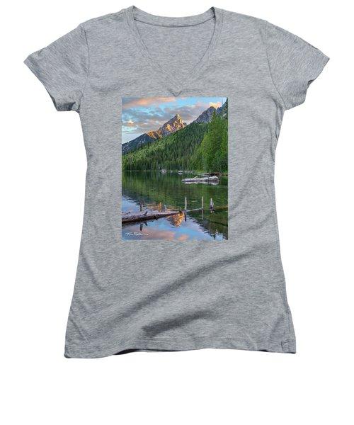 String Lake Women's V-Neck T-Shirt (Junior Cut) by Tim Fitzharris
