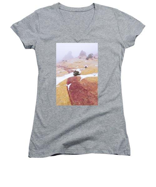 Women's V-Neck T-Shirt (Junior Cut) featuring the photograph Stripe by Chad Dutson