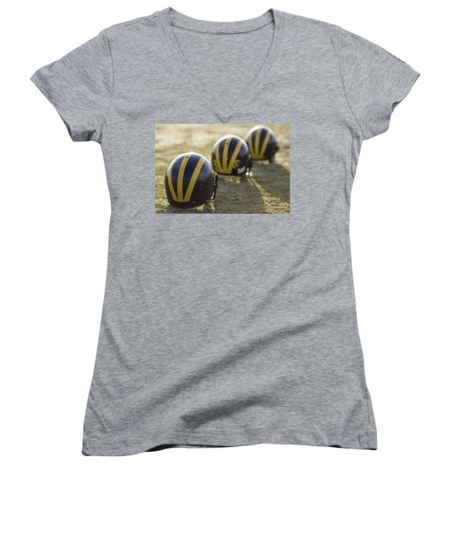 Striped Helmets On A Yard Line Women's V-Neck (Athletic Fit)