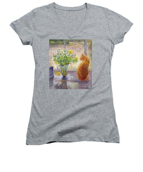 Striped Jug With Spring Flowers Women's V-Neck (Athletic Fit)