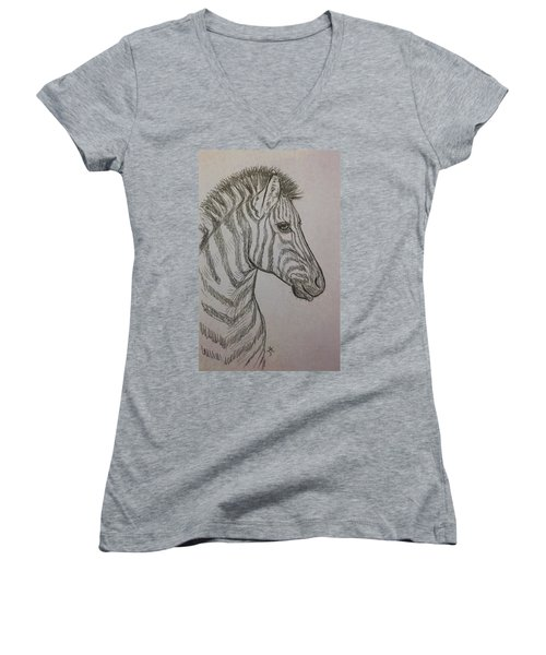 Women's V-Neck featuring the drawing Striped Stud by Jennifer Hotai