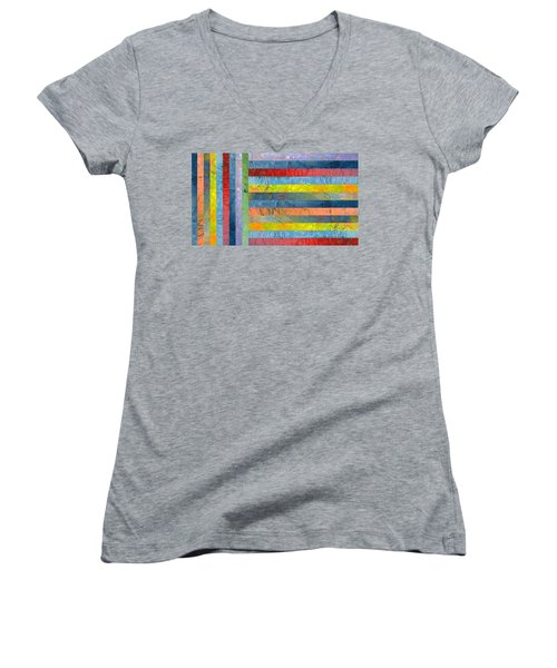 Stripes With Blue And Red Women's V-Neck T-Shirt (Junior Cut) by Michelle Calkins