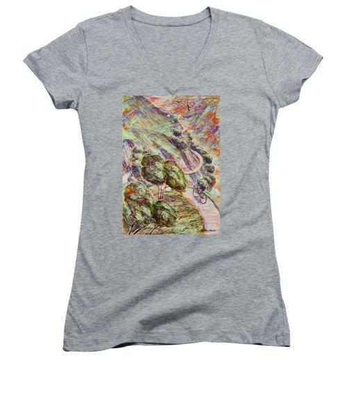 Striving To Sotres 1 Women's V-Neck T-Shirt (Junior Cut) by Mark Jones