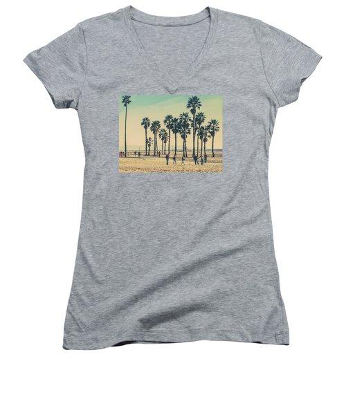 Stroll Down Venice Beach Women's V-Neck T-Shirt