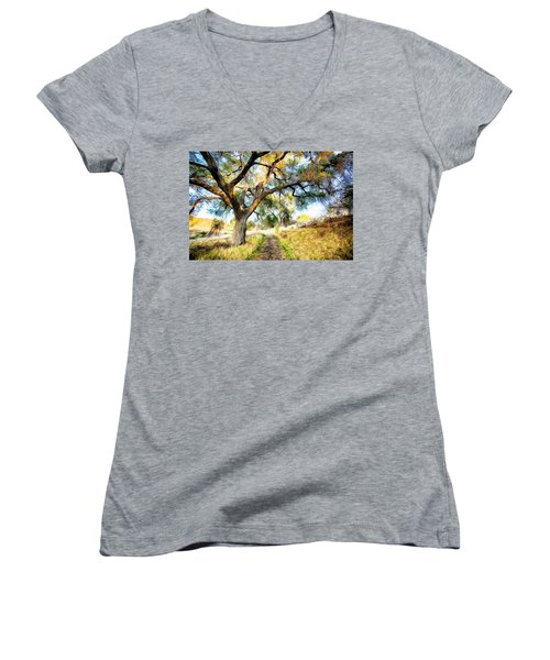 Strolling Down The Path Women's V-Neck T-Shirt (Junior Cut)