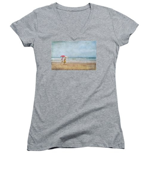 Women's V-Neck T-Shirt (Junior Cut) featuring the photograph Strolling On The Beach by David Zanzinger