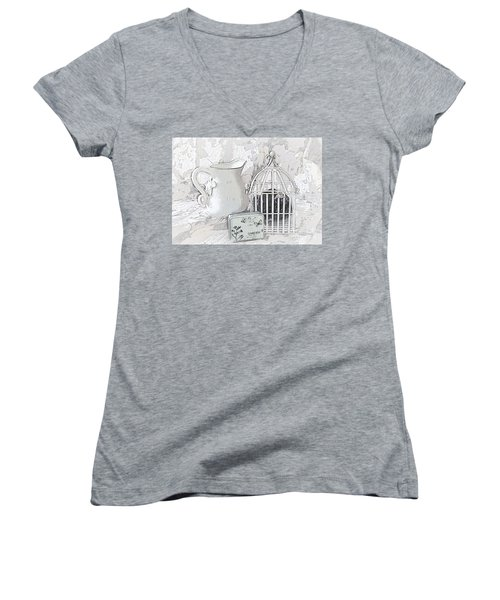 Stuck And All Alone Women's V-Neck T-Shirt (Junior Cut) by Sherry Hallemeier