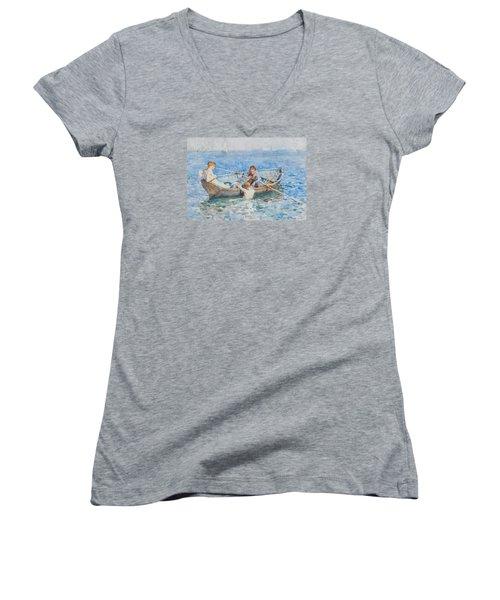 Study For August Blue Women's V-Neck T-Shirt