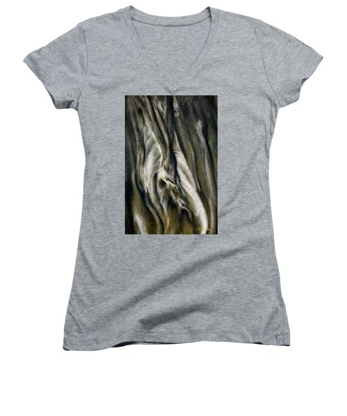 Women's V-Neck T-Shirt featuring the photograph Study In Brown Abstract Sands by Rikk Flohr