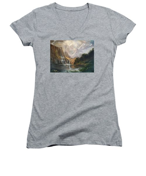 Women's V-Neck T-Shirt (Junior Cut) featuring the painting Study In Nature by Donna Tucker