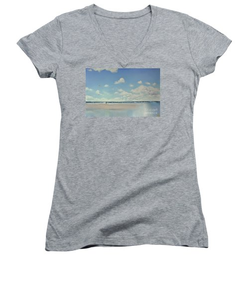Women's V-Neck T-Shirt (Junior Cut) featuring the painting Study Of Blue Nr 1 by Maja Sokolowska