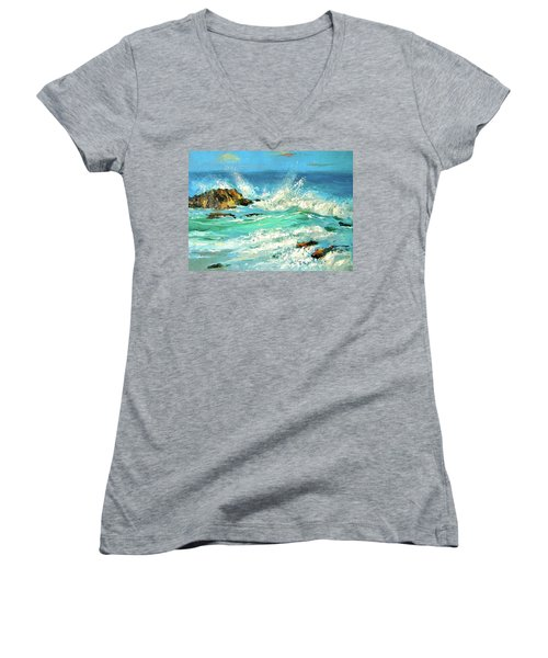 Women's V-Neck T-Shirt (Junior Cut) featuring the painting Study Wave by Dmitry Spiros