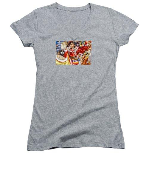 Women's V-Neck T-Shirt (Junior Cut) featuring the photograph Studying Keya Clairmont 2 by Clarice Lakota