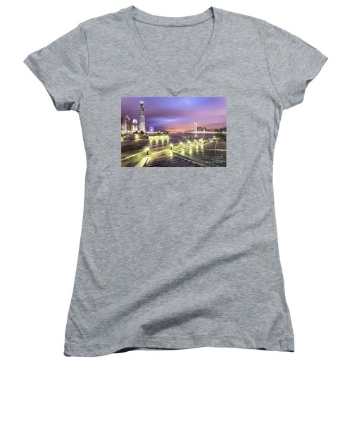 Stunning Night View Of The Famous Hong Kong Island Skyline And V Women's V-Neck
