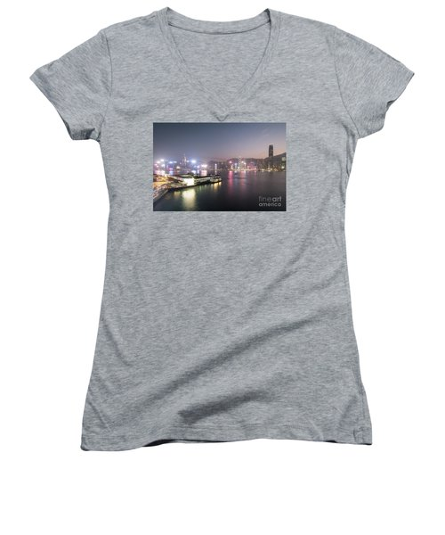 Stunning View Of The Twilight Over The Victoria Harbor And Star  Women's V-Neck