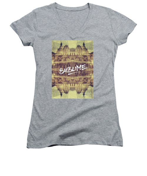 Sublime Fontainebleau Chateau France French Architecture Women's V-Neck (Athletic Fit)