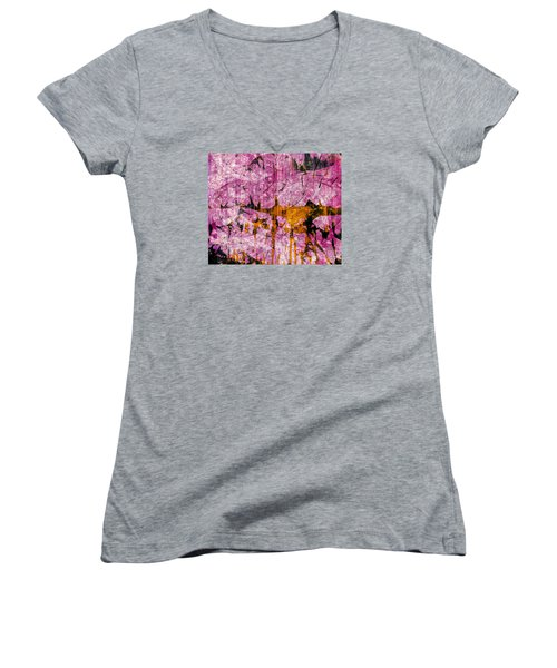 Women's V-Neck T-Shirt (Junior Cut) featuring the mixed media Submit A Dance   by Fania Simon