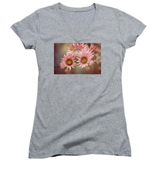 Succulent Flowers - 365-100 Women's V-Neck T-Shirt (Junior Cut) by Inge Riis McDonald