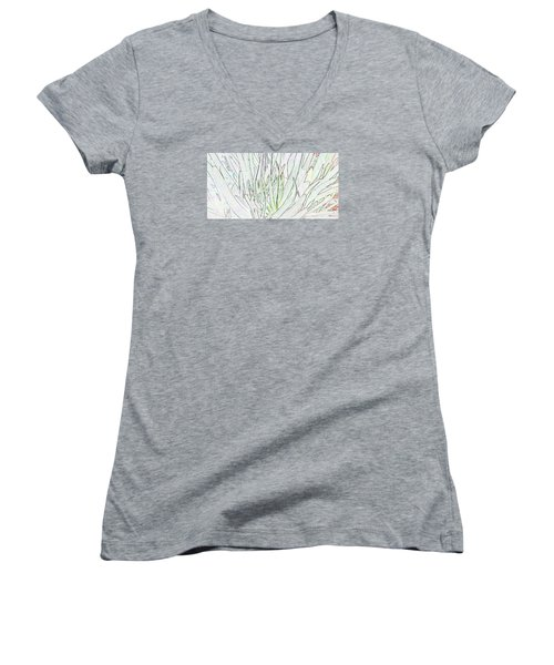 Succulent Leaves In High Key Women's V-Neck T-Shirt (Junior Cut) by Nareeta Martin