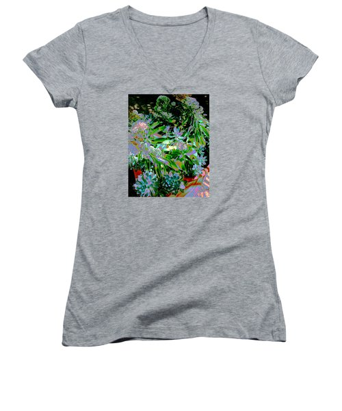 Succulent Pot Women's V-Neck T-Shirt (Junior Cut) by M Diane Bonaparte