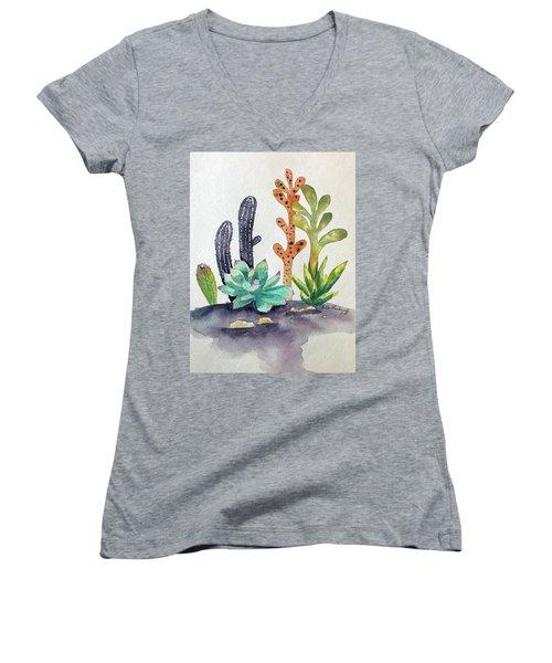 Succulents Desert Women's V-Neck