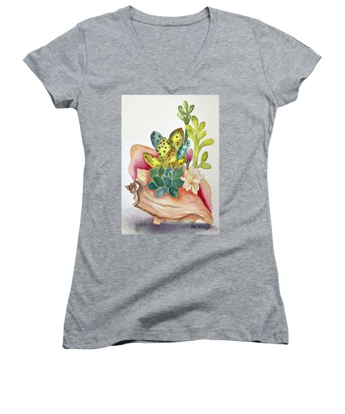 Succulents In Shell Women's V-Neck