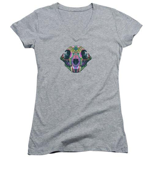 Sugar Lynx  Women's V-Neck T-Shirt (Junior Cut) by Nelson dedos Garcia
