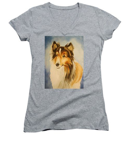Women's V-Neck T-Shirt (Junior Cut) featuring the painting Sugar by Marilyn Jacobson