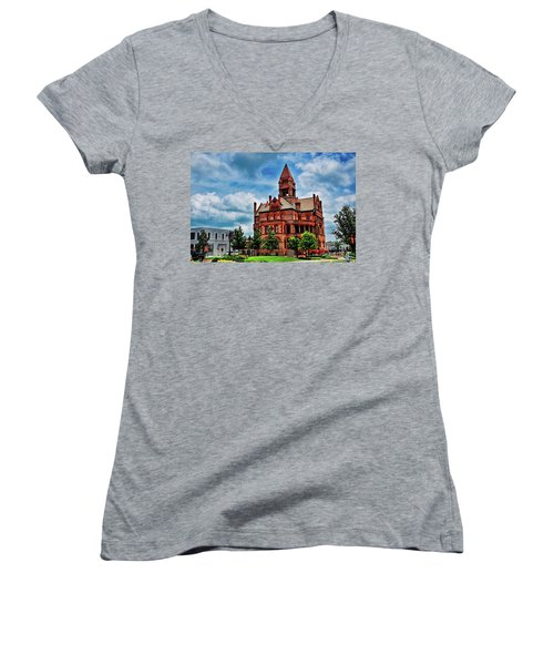 Sulphur Springs Courthouse Women's V-Neck T-Shirt (Junior Cut) by Diana Mary Sharpton