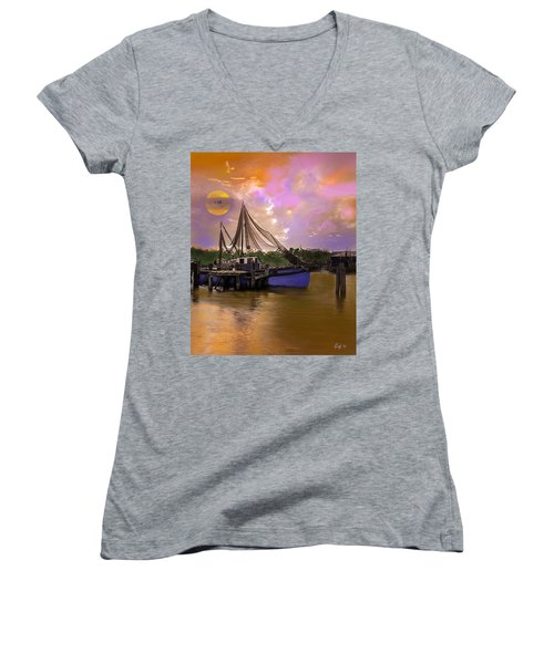 Sultry Bayou Women's V-Neck T-Shirt (Junior Cut) by J Griff Griffin