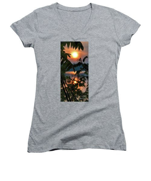 Women's V-Neck T-Shirt (Junior Cut) featuring the photograph Sumac Sunrise At The Lake by Henry Kowalski
