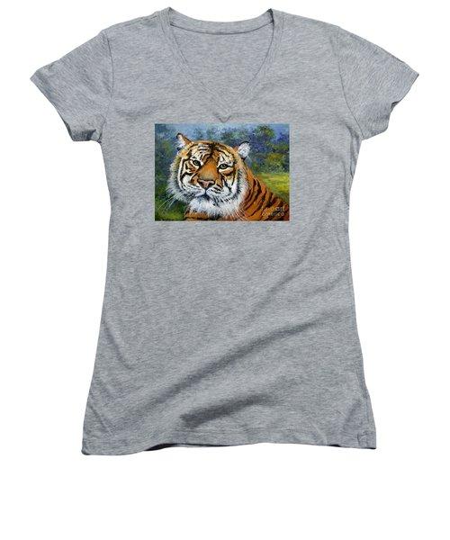 Sumatran Tiger Women's V-Neck T-Shirt