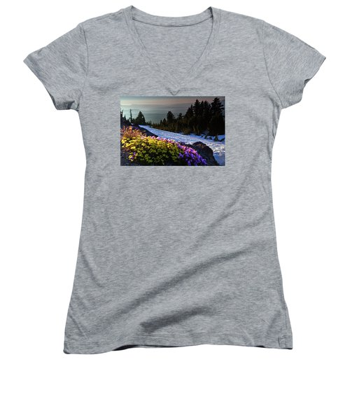Women's V-Neck T-Shirt featuring the photograph Summer And Winter by David Chandler