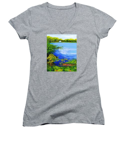 Summer At The Lake Women's V-Neck T-Shirt (Junior Cut) by Anne Marie Brown