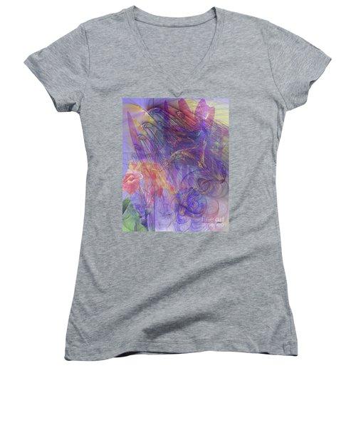Summer Awakes Women's V-Neck T-Shirt (Junior Cut) by John Robert Beck