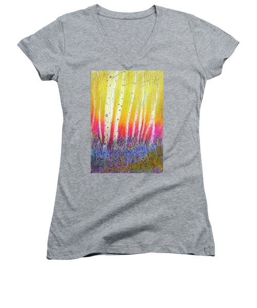 Women's V-Neck T-Shirt (Junior Cut) featuring the pastel Summer Birch  by Linde Townsend