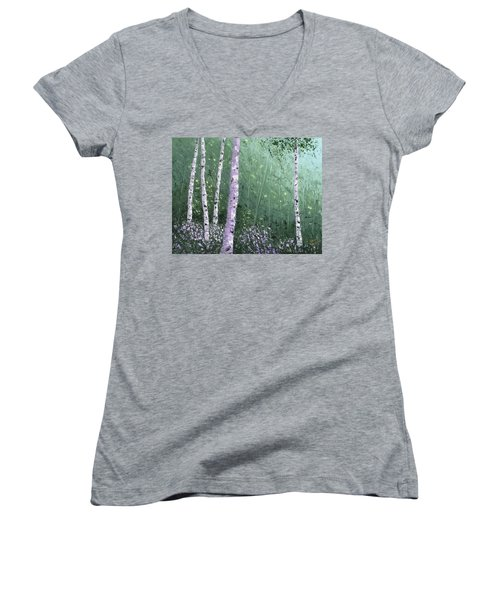 Summer Birch Trees Women's V-Neck (Athletic Fit)